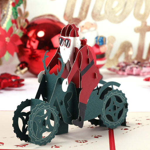 Kawaii Japanese Korean Santa Claus riding a motorcycle handmade three-dimensional paper sculpture Christmas gift card