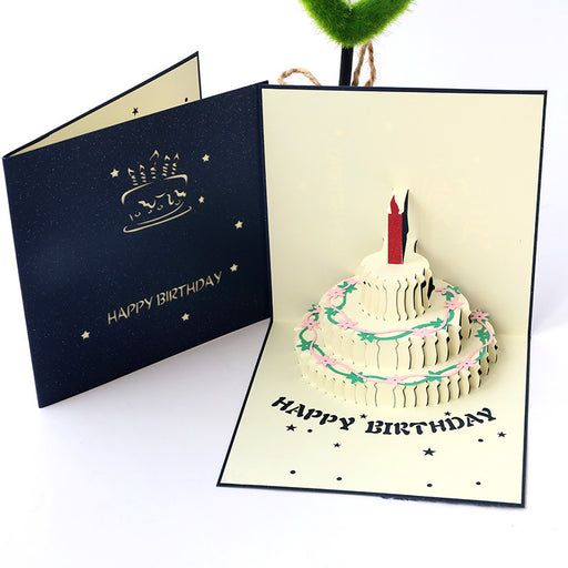 Kawaii Japanese Korean -Birthday Card Handmade Hollow Paper Carving Cake Gift Gift Card
