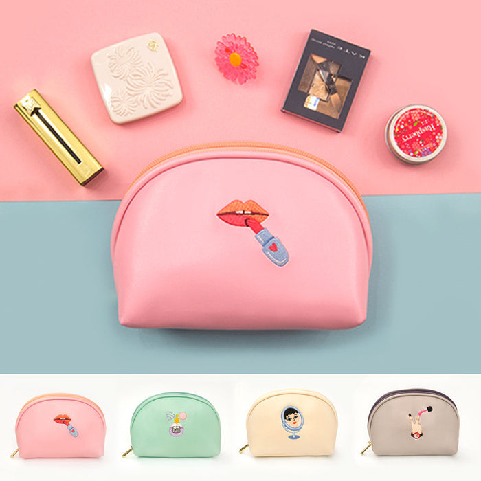 Kawaii Korean Japanese Milkjoy Strange Aunt embroidery Cosmetic Art Fresh Clutch Makeup Bag