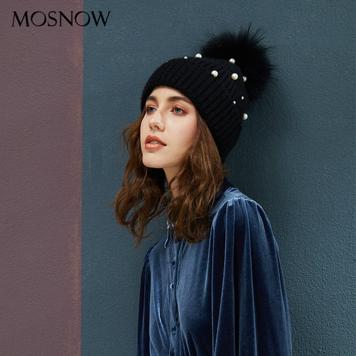 Aesthetic Mosnow  Pearl Wool Ball Knitted Hat