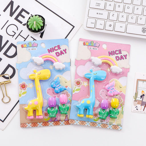 Kawaii  Japanese  Korean  Cartoon giraffe rainbow eraser