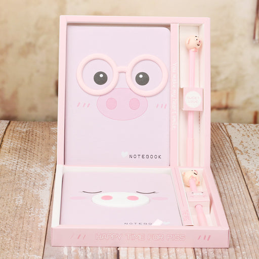INS Pink Girly Heart Box Zakka Cartoon Piggy Notepad Gift Box Boutique Notebook Journal