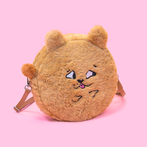 Kawaii Korean Japanese Bentoy Squint Animal Round Plush Cute Soft Girl Pink Super Rabbit Shaped Shoulder Bag