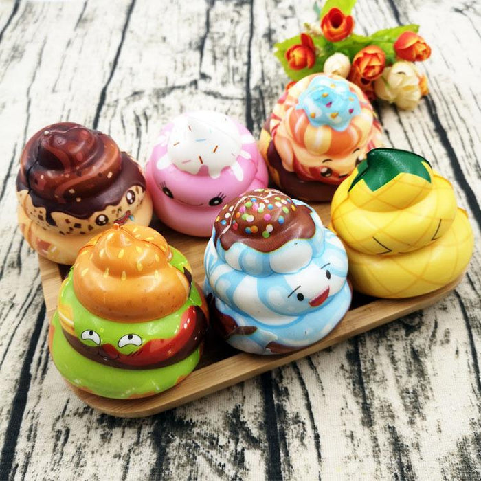Silly Squishy - Color print poop slow bounce strawberry kiwi fruit poop squishy toy