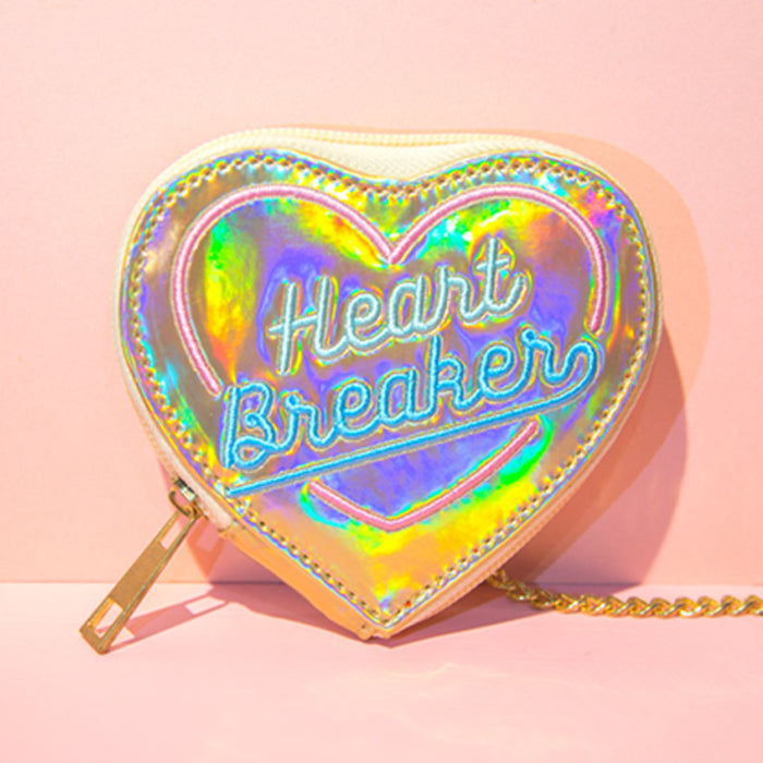 Kawaii Korean Japanese Bentoy Hypnotic Embroidery Peach Heart Coin Laser Bright Leather Literary Fresh Coin Wallet