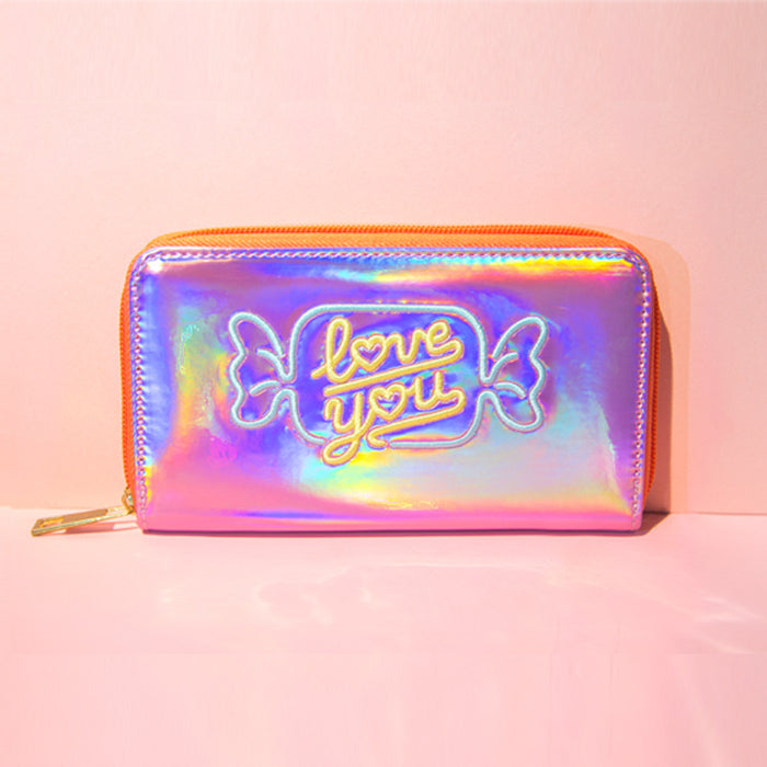 Kawaii Korean Japanese Bentoy Hypnotic Embroidery Candy Long Laser Bright Leather Artistic Fresh Coin Wallet