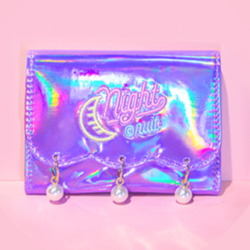 Kawaii Korean Japanese Bentoy Hypnotic Pearl Pendant Girl Heart Colorful Laser Bright Leather Harajuku Style Wallet