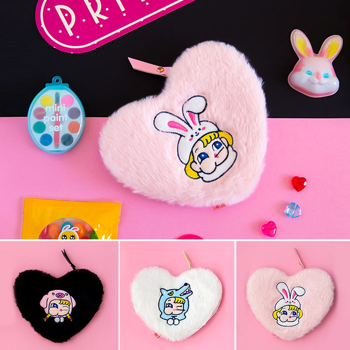 Kawaii Korean Japanese Milkjoy Stick Peach Heart Coin Pig Cute Card Set Multipurpose Plush Small Wallet