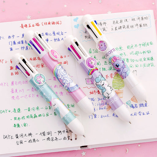 Kawaii Korean Japanese Girly Cute Unicorn Rainbow Multifunctional Colorful Pushable Ball Pen