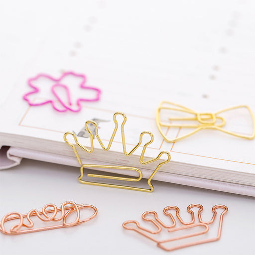 Kawaii  Japanese  Korean Cartoon rose paper clip gold clip pin simple shape bookmark clip