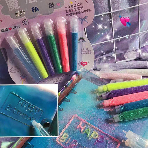 Kawaii  Japanese  Korean  Little fairy magic pen shiny crystal color pen fluorescent stereo 5 color DIY handmade color pen