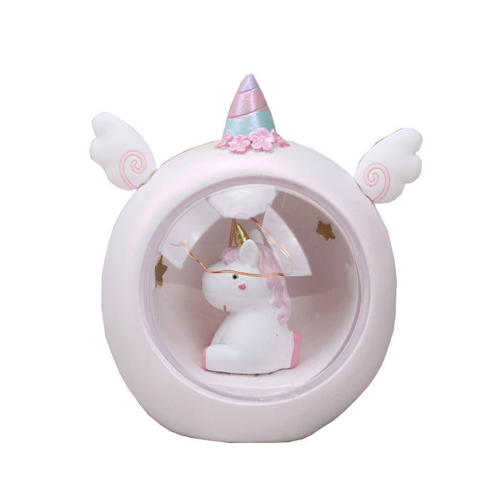 Zakka Japanese-Style Grocery Decoration Learning Pink Doodle Unicorn Cartoon Night Light Student Gift Table Lamp ~ Table Ornaments