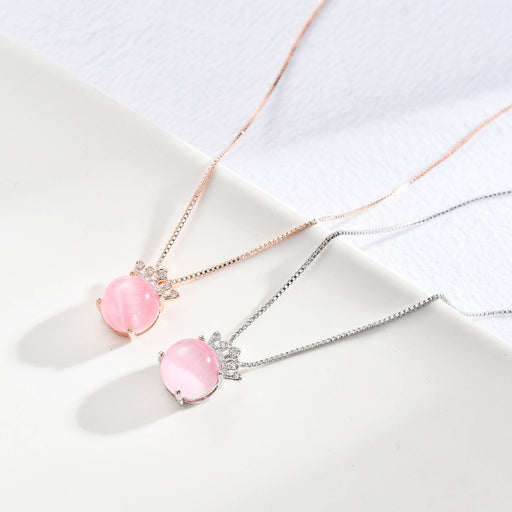 Kawaii  Japanese  Korean Silver Plated Diamond Pink Crystal Crown Necklace
