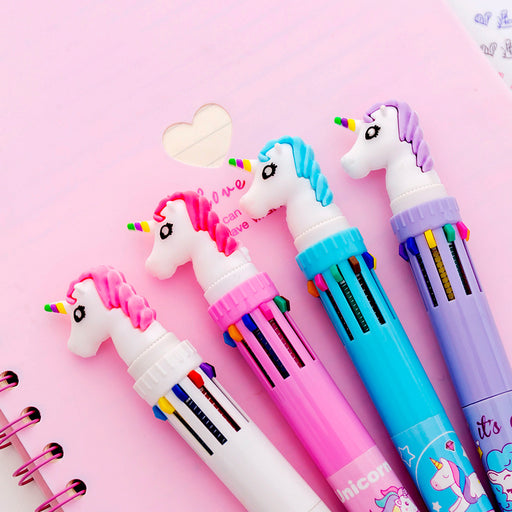 Kawaii Korean Japanese Unicorn Rainbow Multifunctional Colorful Pen