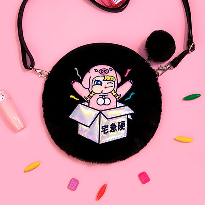 Kawaii Korean Japanese Milkjoy Stick Girl Exquisite Girl Plush Cute Soft Pig Shaped Shoulder Bag