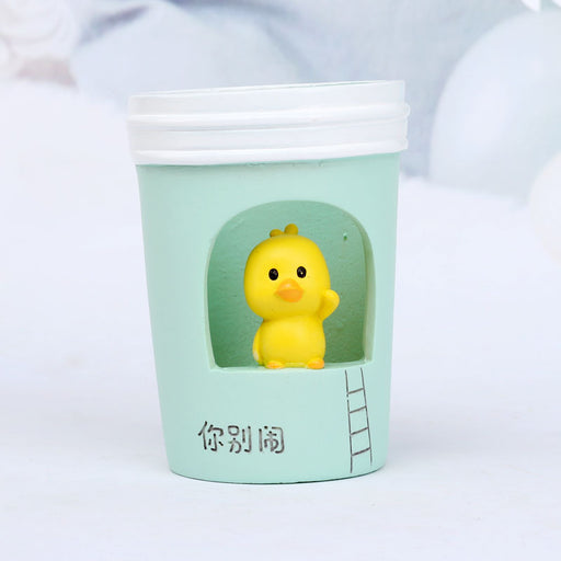 Grocery Student Office Stationery Gift Cartoon Little Yellow Duck Hollow Desktop Creative Student Pen Holder