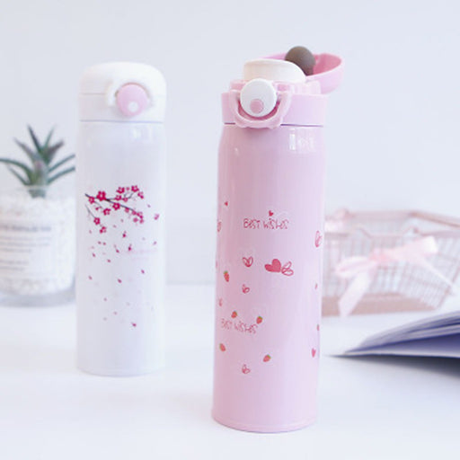 Kawaii  Japanese  Korean  Fresh literary pink girl heart thermos cup anti-fall cherry blossom cup