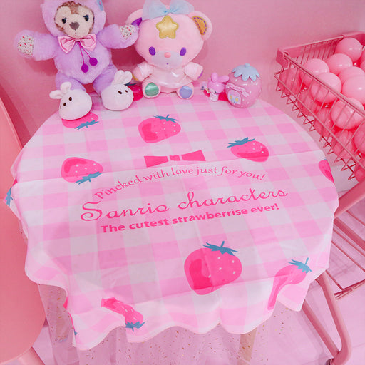 Kawaii Japanese Koreanins pink cute lattice strawberry background cloth/table mat