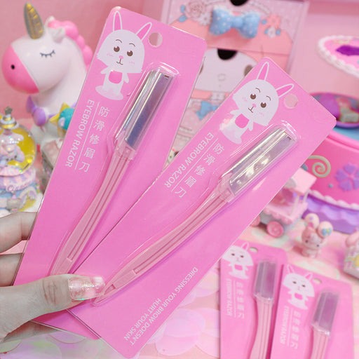 Kawaii  Japanese  Korean  -Pink girl heart stainless steel eyebrow shaping knife/small eyebrow shaving knife/eyebrow shaving knife