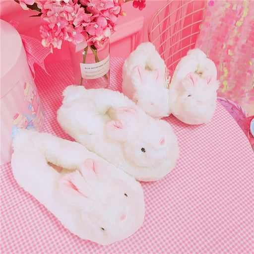 Kawaii  Japanese  Korean  -Girl heart three-dimensional cute rabbit ears cotton slippers