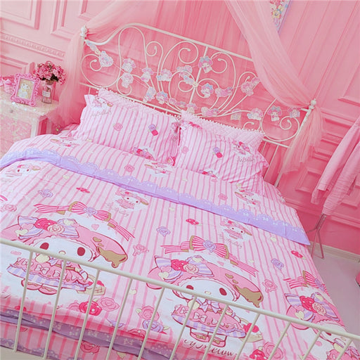 Kawaii  Japanese  Korean - Pink girl heart bed four-piece set