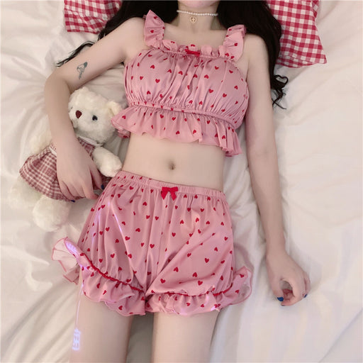 Kawaii  Japanese  Korean  Loose girl love vest comfortable shorts two-piece suit pajamas
