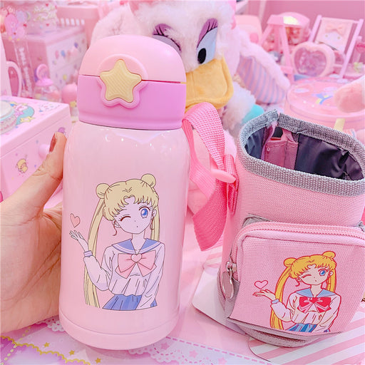 Kawaii  Japanese  Korean Shuibingyue beautiful girl pink vacuum flask portable stainless steel vacuum flask dual-use