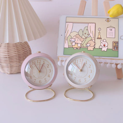 Kawaii Japanese Koreanins girl heart pink retro bedside alarm clock