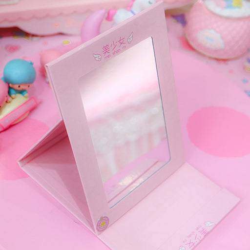 Kawaii  Japanese  Korean  Sakura pink desktop folding mirror makeup mirror