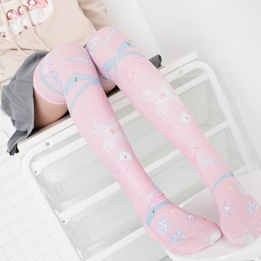 Pink Kawaii Lolita D. VA Overwatch Thigh High Socks