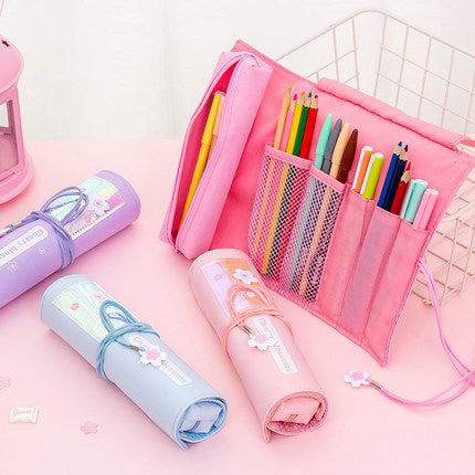 Kawaii  Japanese  Korean  - ins girl heart stationery box small fresh roller blind pencil case
