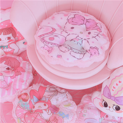 Kawaii  Japanese  Korean Girly Heart Cartoon Melody Plush Flower Round Thickening Cushion