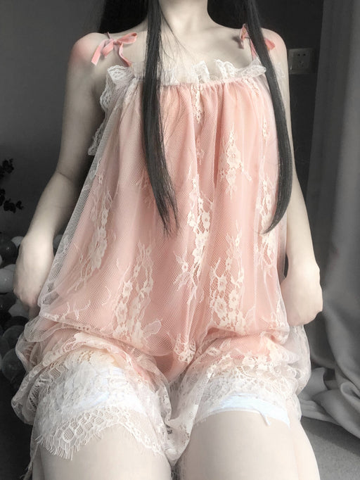 Kawaii  Japanese  Korean  Pink suspender lace pajamas
