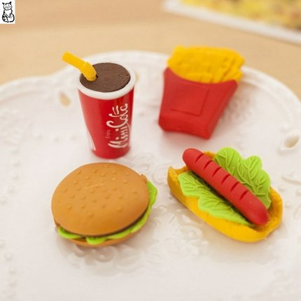 Kawaii  Japanese  Korean  Creative fast food burger hot dog fries eraser