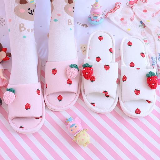 Aesthetic Girly Heart Strawberry Home Pink Cotton Slippers
