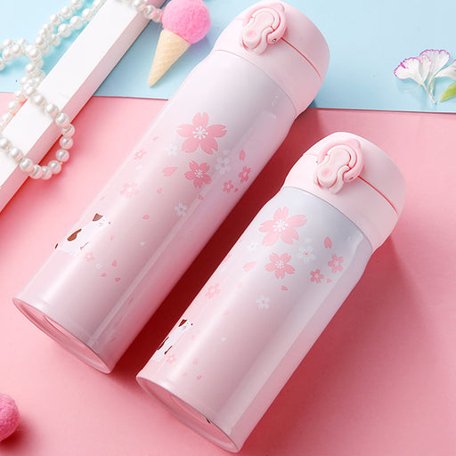 Kawaii  Japanese  Korean   Little fairy cherry cat thermos mug