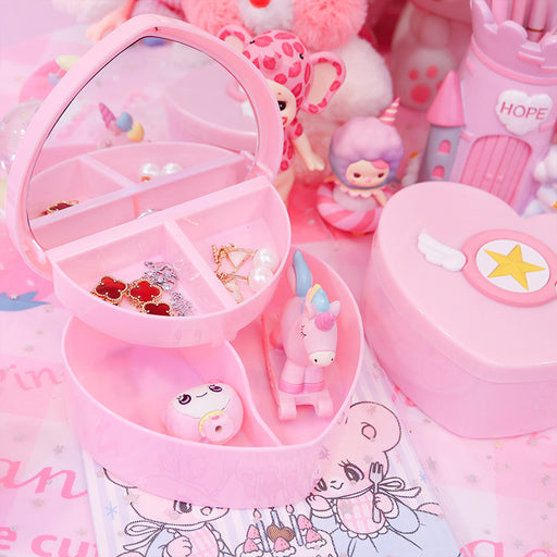 Kawaii  Japanese  Korean Girl heart pink love storage box desktop jewelry hair accessory box cartoon double storage box