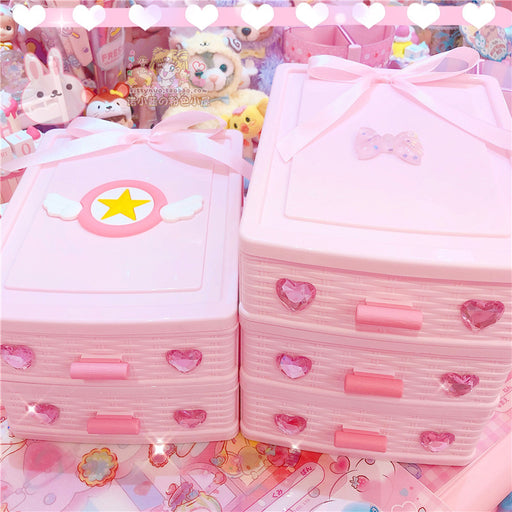 Kawaii Japanese Korean Sakura stationery office drawer finishing love diamond pink ribbon drawer box
