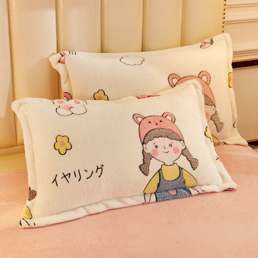 Cute Cartoon Rainbow Coral Velvet Pillowcase