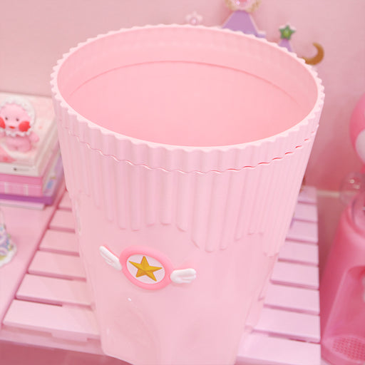 Kawaii  Japanese  Korean Cute girly heart pink large wings stars cartoon pink trash can home pink trash can debris bucket