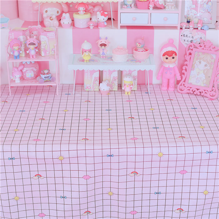 Kawaii Japanese Korean ins black and white grid small fresh rectangular tablecloth/lace table mat/computer makeup tablecloth