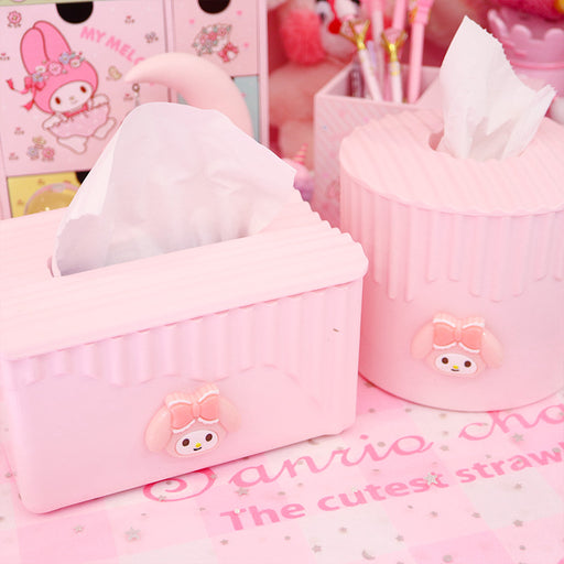 Kawaii  Japanese  Korean Cartoon pink plastic pumping paper storage box cake side girl powder tissue storage box