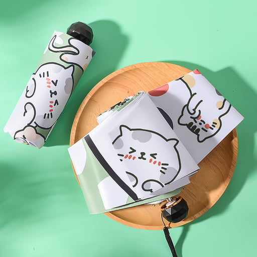 Kawaii  Japanese  Korean Small and portable automatic folding cat sun umbrella