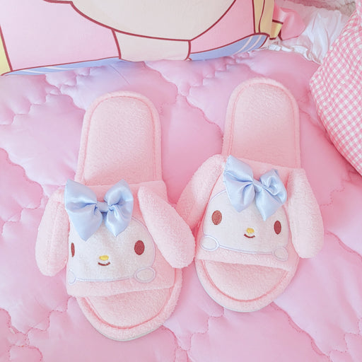 Kawaii  Japanese  Korean  -Cute K*T Melody plush open-toe home slippers