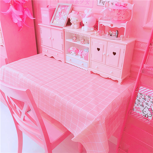Kawaii Japanese Korean oil-proof and wash-free pink plaid PVC table mat