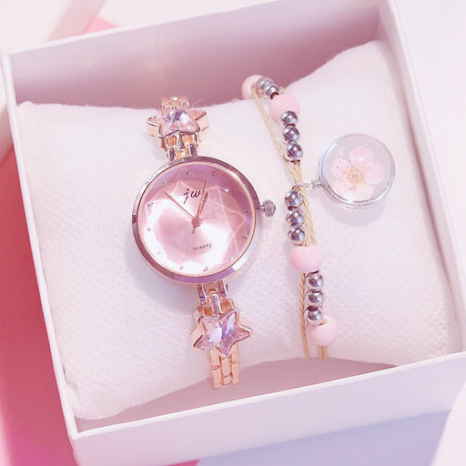 Japanese girl cherry blossom bracelet watch set gift box