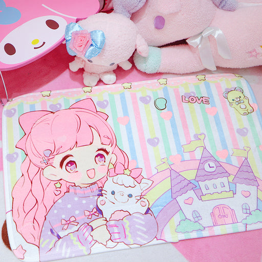 Kawaii  Japanese  Korean  girl heart room decoration non-slip absorbent floor mat rug