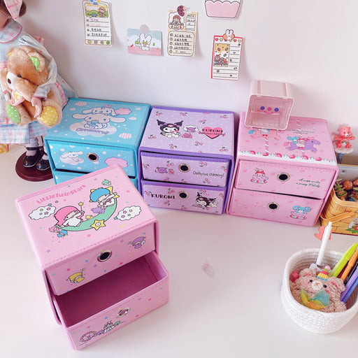 Kawaii  Japanese  Korean Melody Gemini laurel dog desktop drawer large capacity storage box