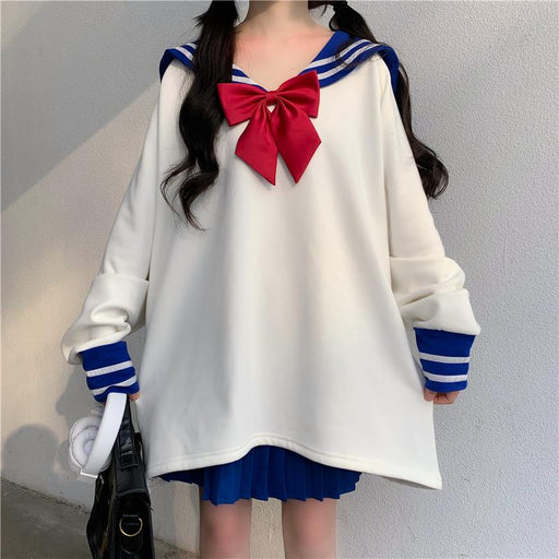 Japanese soft girl navy collar college style bow suit
