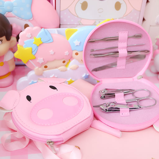 Kawaii  Japanese  Korean  -Cartoon pink pig personal care manicure/manicure scissors/nail clippers six-piece tool set